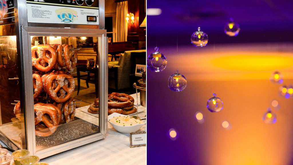 paramount country club wedding after hours pretzel cart, floating ceiling candles