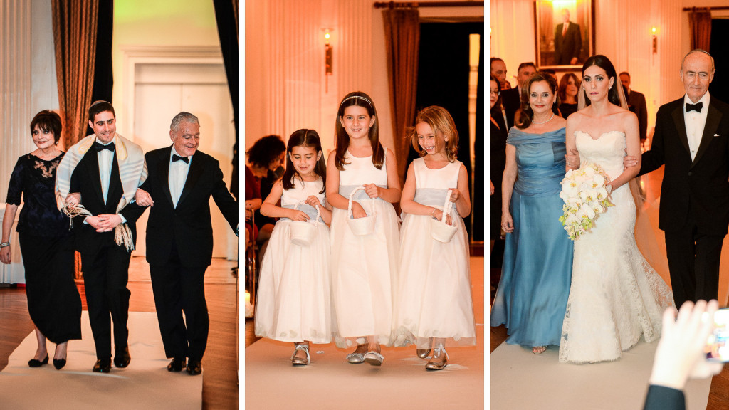 yale club nyc wedding ceremony coming down the aisle : groom and parents, flowergirls, bride and parents