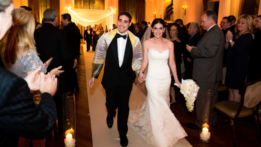 wedding ceremony yale club nyc bride and groom exit