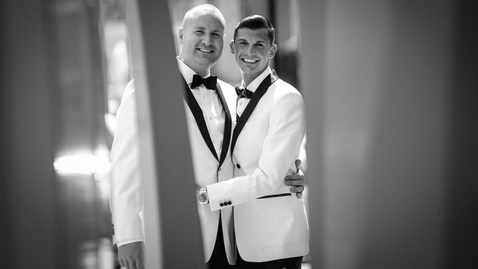 Gay wedding portrait at the Ritz Carlton 42 restaurant in White Plains NY