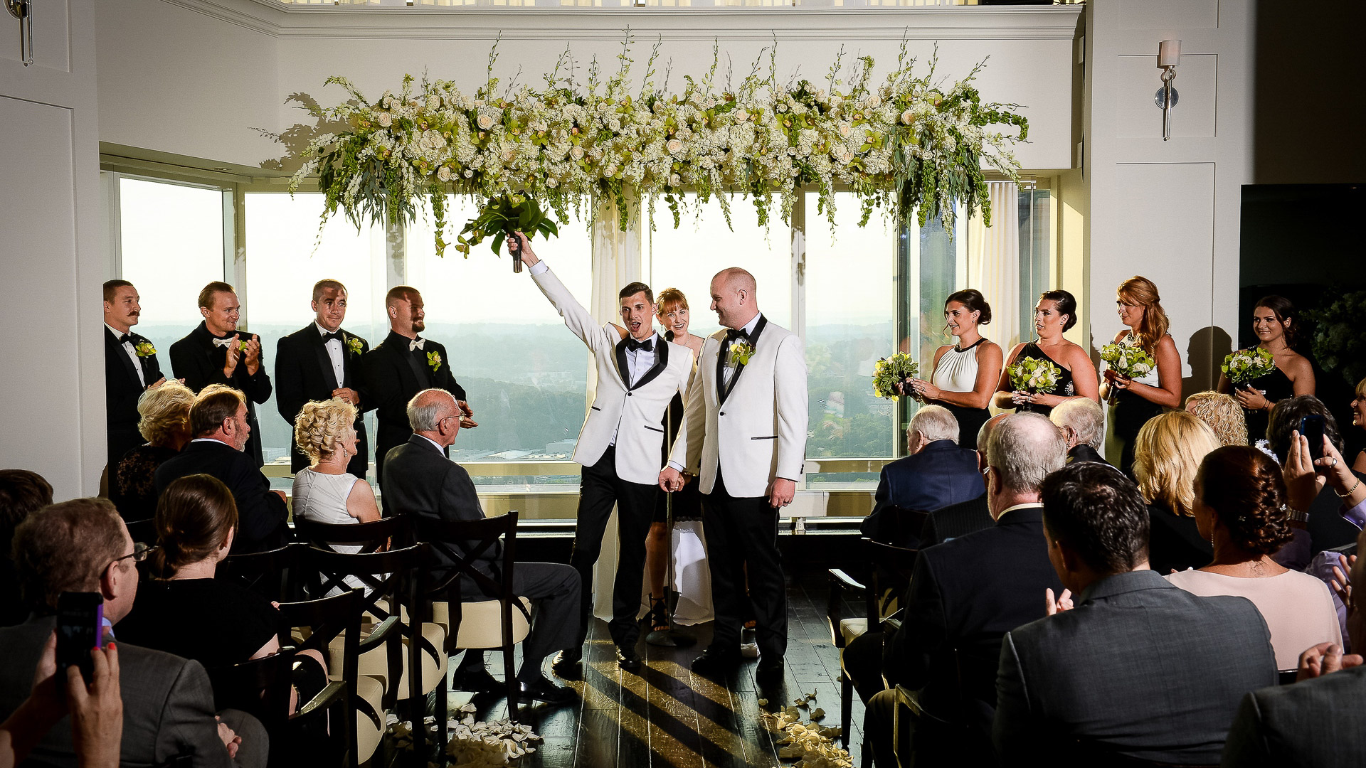Ritz Carlton White Plains 42 restaurant same sex wedding ceremony wth Hudson Valley views