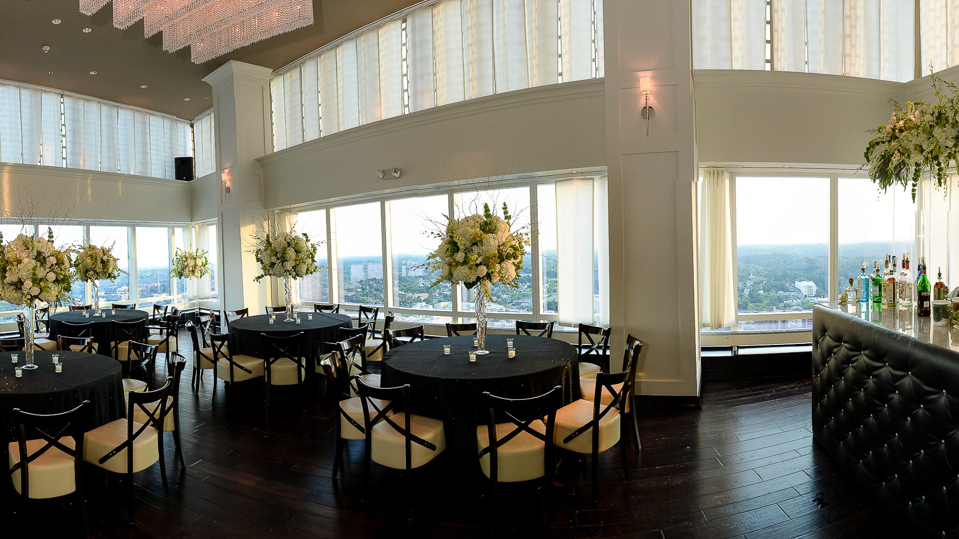 Ritz Carlton White Plains 42 restaurant wedding dinner setup wth Hudson Valley views