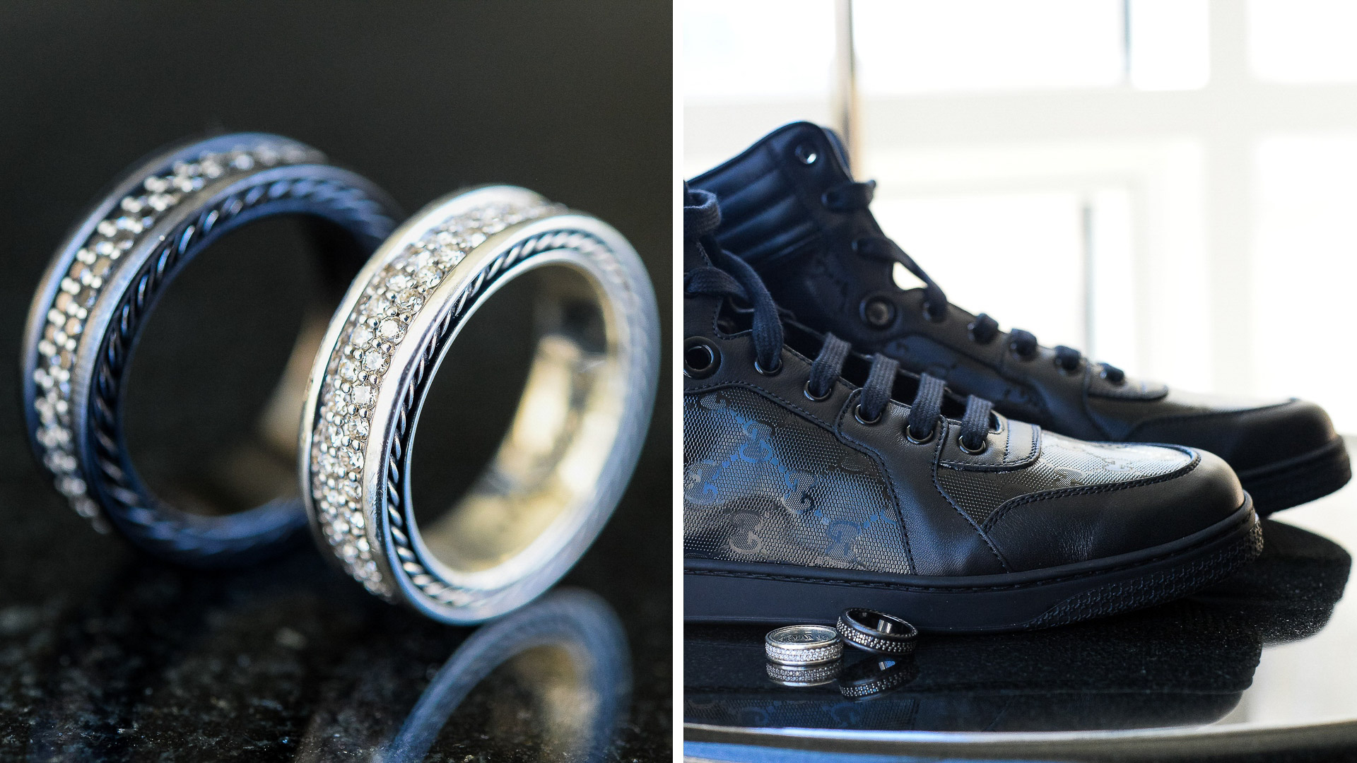 Gay wedding rings David Yurman and Gucci shoes detail at the Ritz Carlton 42 restaurant in White Plains NY