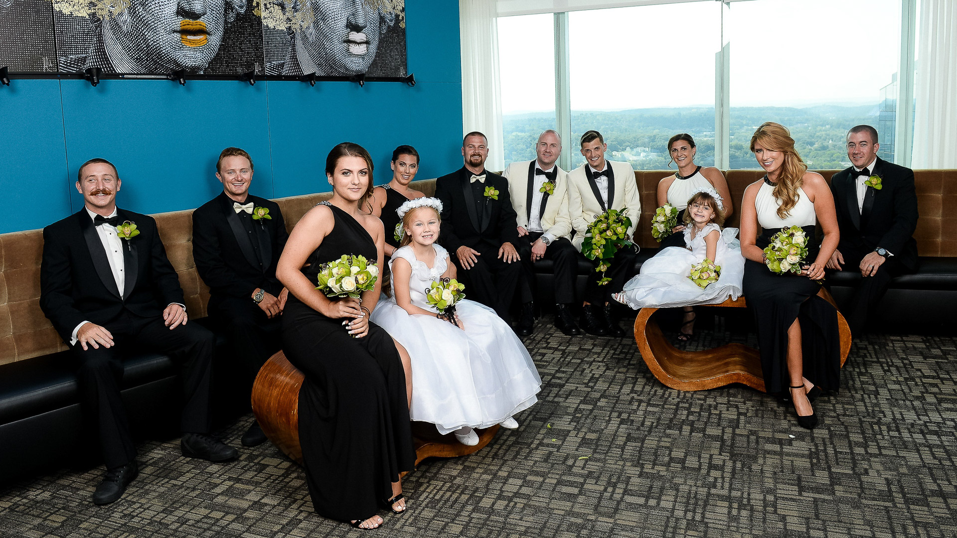 Gay wedding bridal party portrait at the Ritz Carlton 42 restaurant in White Plains NY