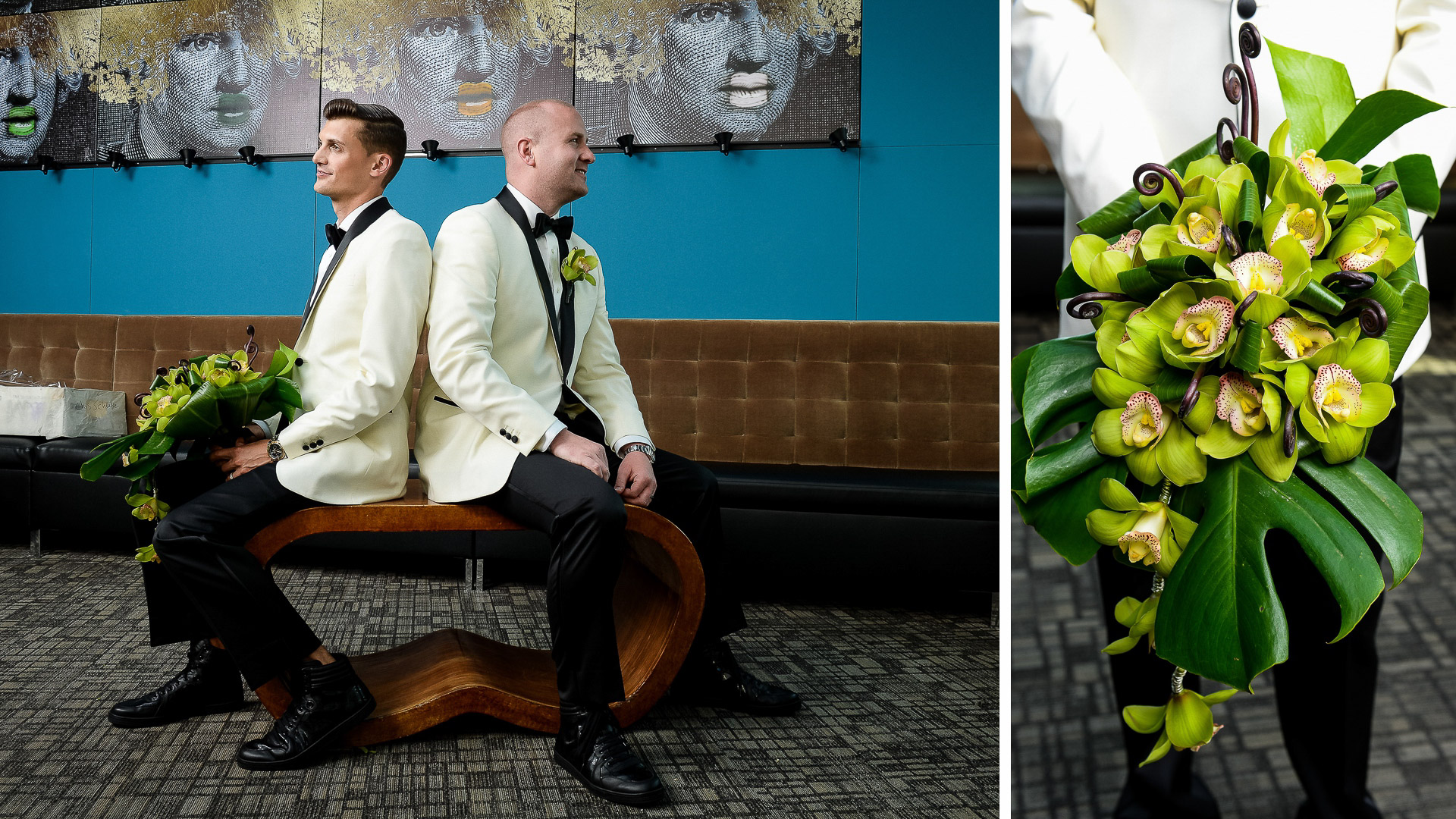 same sex grooms wedding portrait