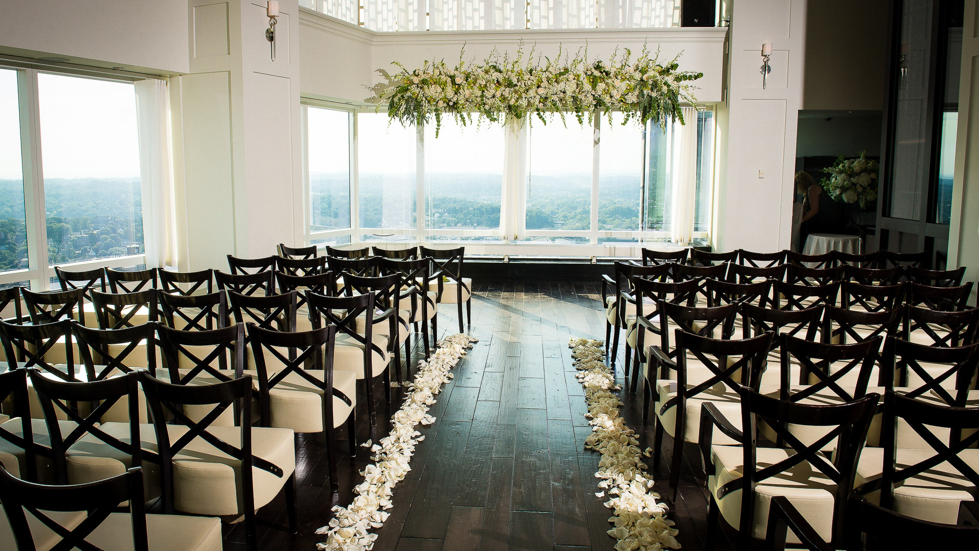 Ritz Carlton White Plains 42 restaurant wedding ceremony setup wth Hudson Valley views