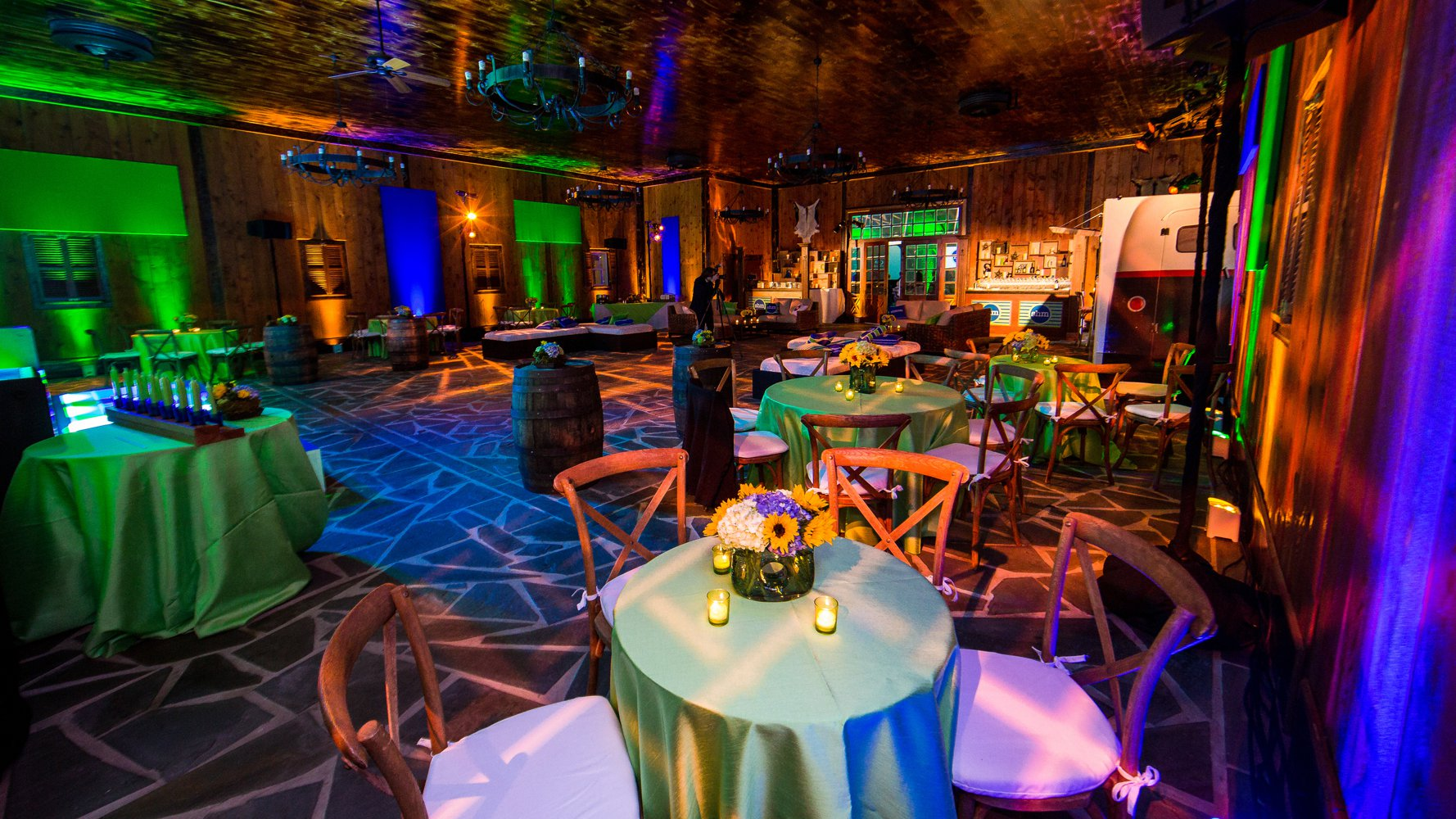 Campo Grande Acres NJ venue Bar Mitzvah in barn party room setup