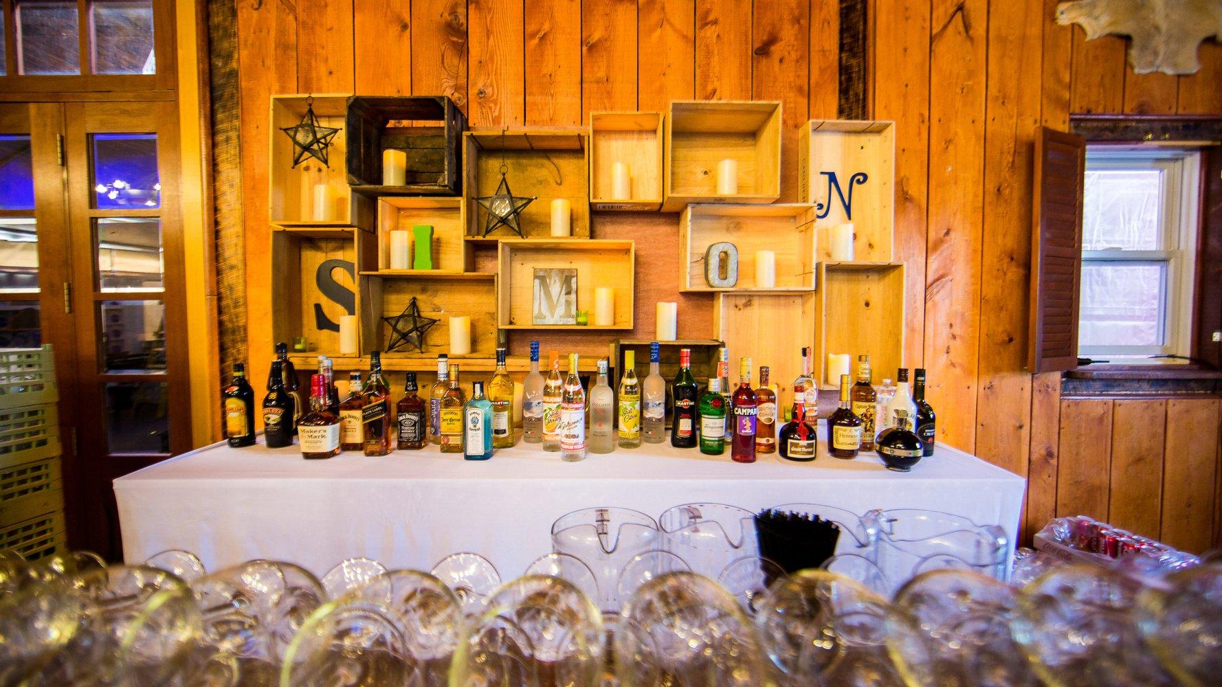 Bar Mitzvah adult bar rustic setup
