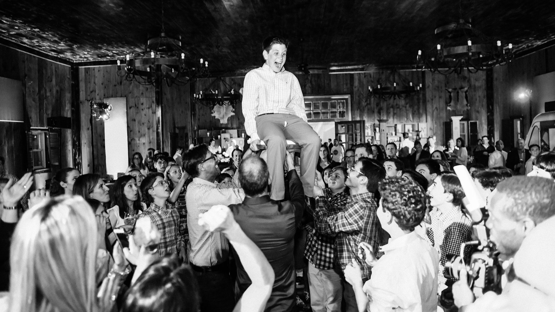 Bar Mitzvah Hora on chair