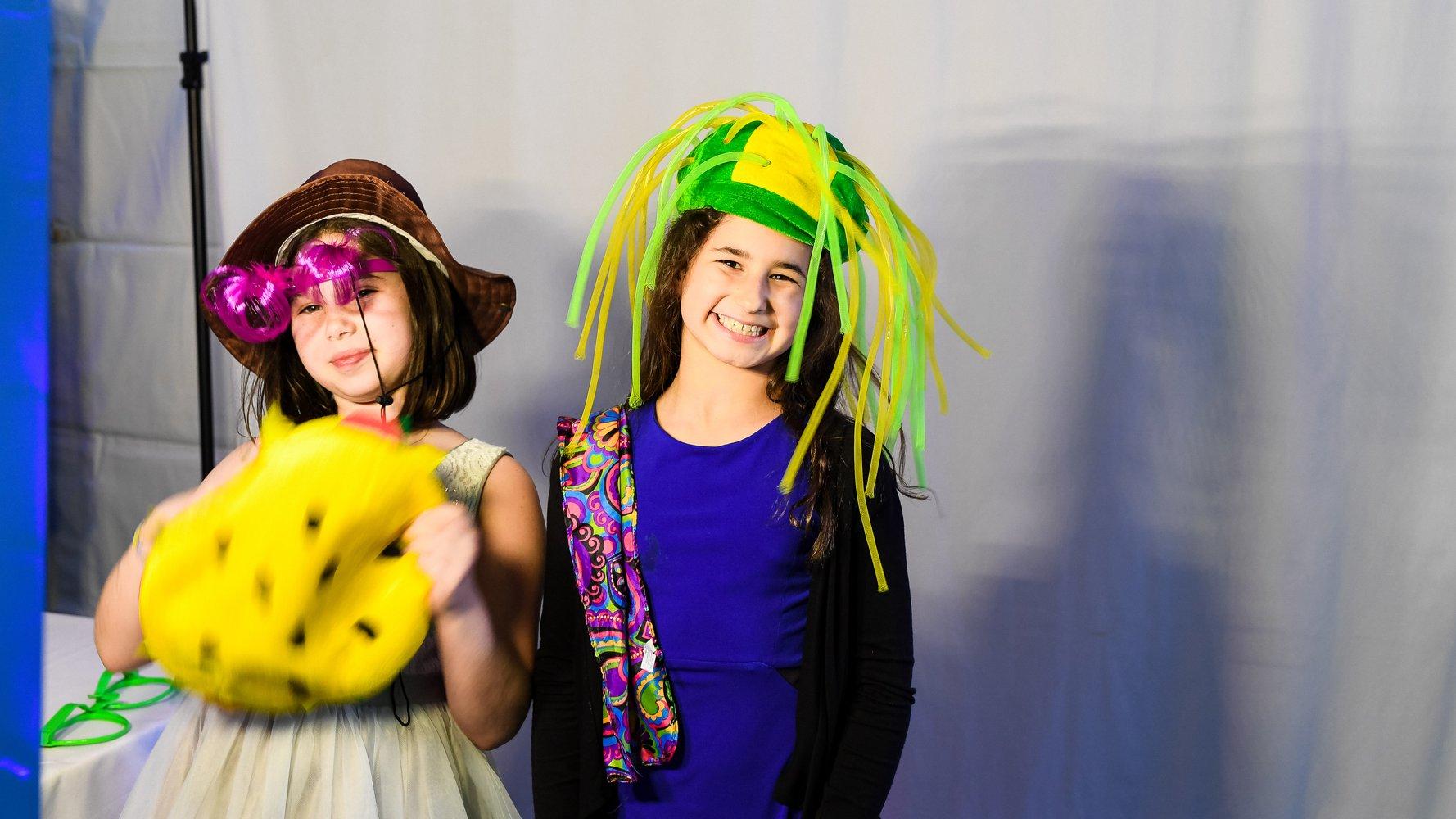 Bar Mitzvah kids posing for photo booth