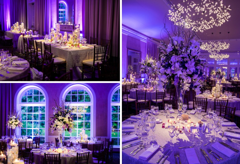NYBG New York Botanical Garden wedding ceremony reception bride and groom, reception room, purple lights, orchids
