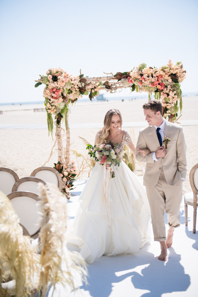 casa del mar bride and groom wedding on beach in sand